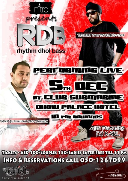 RDB Performing Live @ NITRO Dubai (flyer)