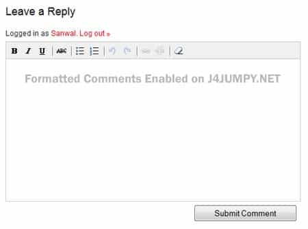 Formatted Comments Enabled on J4JUMPY.NET